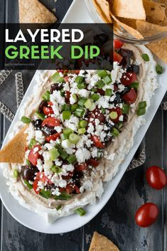 Layered Greek Dip recipe is a healthier spin on a famous 7 layer appetizer. - appetizers -This Layered Greek Dip recipe is a healthier spin on a famous 7 layer appetizer. Greek Appetizers, Appetizers For A Crowd, Vegetarian Appetizers, Appetizer Dips, Yummy Appetizers, Make Ahead Cold Appetizers, Appetizers For Dinner Party, Easy Summer Appetizers, Easy Appies