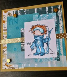 Made by Maroeska: Winter Fun - Card with clear stamp of Marianne Designs - Don & Daisy.