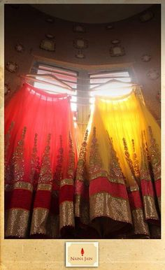 red and yellow lehengas