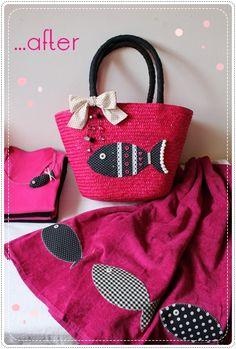 comment transformer un panier basique en un joli sac pour la plage!
