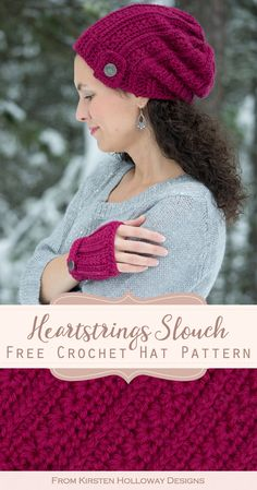 Heartstrings Slouch Hat, Free Winter Crochet Pattern - Kirsten Holloway Designs