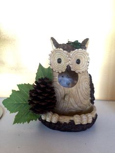 Owl Birdhouse with Pinecone & Maple Leaves, Owl Birdhouse, Birdhouse, Birdfeeder, Whimsical Birdhouse, Home Decor, Garden Decor, Housewarmin by BelleMistique on Etsy https://www.etsy.com/listing/229827887/owl-birdhouse-with-pinecone-maple-leaves