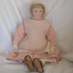 Early Moravian Cloth Doll with Ink Drawn Face from ~ LYNETTE GROSS ANTIQUE DOLLS ~ found @Doll Shops United  http://www.dollshopsunited.com/stores/lynettegrossdolls/items/1270360/Early-Moravian-Cloth-Doll-Ink-Drawn-Face #dollshopsunited