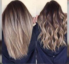 Blonde balayage hair. Medium length.