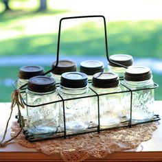 Carrier and 8 Quart Ball Jars