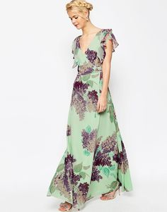 Image 4 of ASOS Frill Tea Maxi Dress in Hydrangea Print