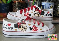 Low Minnie Mouse White Red Hand Painted Canvas Women/Men Shoes, Mickey Mouse Shoes, Cosplay Hand Drawing Shoes