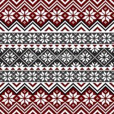 Nordische traditionelle Muster mit Schneeflocken, weiß, grau und rot Design, voll skalierbare Vektorgrafik, alle Elemente werden gruppiert, für einfache Bearbeitung