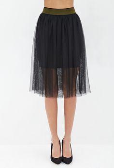 Layered Tulle Midi Skirt - Women - 2000136887 - Forever 21 UK