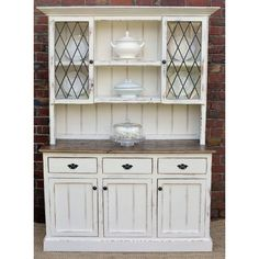 COUNTRY FARMHOUSE FRENCH PROVINCIAL BUFFET AND HUTCH SIDEBOARD DRESSER... ❤ liked on Polyvore featuring home, furniture, storage & shelves, sideboards, white sideboards, white furniture, white buffet and white hutch