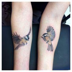 chickadee tattoo - for grams Mama Tattoos, Pin Up Tattoos, Couple Tattoos, Body Art Tattoos, Sleeve Tattoos, Tatoos, Leg Tattoos, Unique Tattoos, Beautiful Tattoos