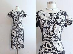 1960s Tropical Dress / 60s Vintage Hawaiian Tahitian Black & White Tropical Floral Print Wiggle Dress.