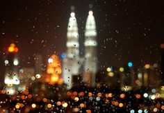 #architecture #city #rain #lights #night