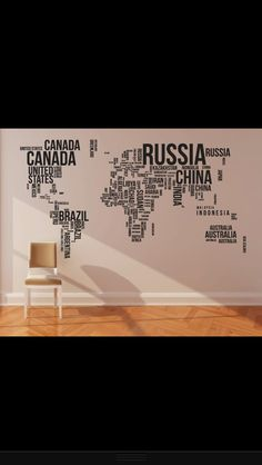 I love the way this wall map is done. I wouldn't mind something similar.
