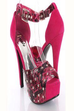 Fuchsia Snake Skin Faux Leather Studded Peep Toe Heels