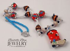 Beekeeper's Boot Necklace - BBL Handmade Lampwork Glass Beads SRA