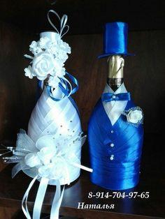 Украшения для свадебных бокалов и шампанского. Под заказ