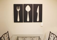 Looking for some creative wall decor for your dining room or kitchen? Create your own giant utensil wall art with this DIY tutorial. #DIYproject #walldecor #diningroom