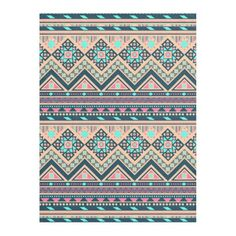 Colorful Abstract Aztec Tribal Pattern Fleece Blanket