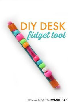 Desk Fidget Tool for School Make this DIY fidget tool for use in the classroom or at home while writing and reading to help kids focus, attend, and perform tasks with tactile sensory input and movement they need to help with fidgeting. Diy Fidget Toys, Fidget Tools, Homemade Fidget Toys, Sensory Tools, Sensory Activities, Sensory Diet, Diy Sensory Toys, Autism Sensory, Behavior Management