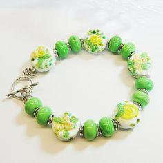 Yellow Rose Garden Silver Lampwork Bracelet by ShooglyBeads, £40.00
