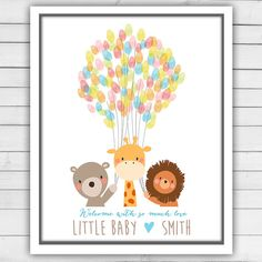Baby animals baby shower guestbook thumbprint by Anietillustration