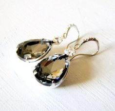 Swarovski Black Diamond Earrings with Rhinestone Encrusted Ear Wires