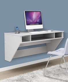 White Designer Floating Wall Desk