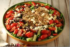 This Greek Grilled Chicken Salad is packed with huge flavor and tastes as great as it is pretty! It's sure to be a family favorite. - Grilled-Chicken-Greek Salad - Yours And Mine Are Ours