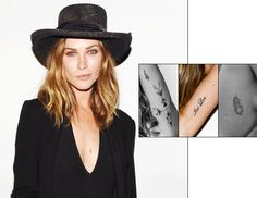 "Erin Wasson - Wasson's tattoo collection mirrors her style—arrows, feathers, and a lightning bolt. There's also plenty of text, including the phrase 'Imi Loa', Hawaiian for ""to seek."""