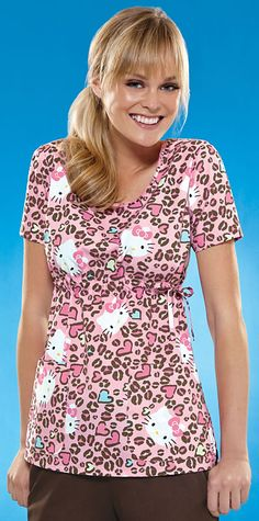 Scrubs - Cherokee Tooniforms Hello Kitty Cheetah Scoop Neck Scrub Top   Cherokee Tooniforms Scrubs   Cherokee Scrubs   www.LydiasUniforms.com