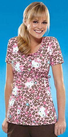 Scrubs - Cherokee Tooniforms Hello Kitty Cheetah Scoop Neck Scrub Top | Lydias Scrubs and Nursing Uniforms