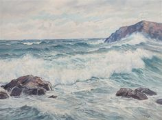 Artwork by Charles Vickery, Waves Crashing on Coast, Made of Oil on canvas