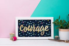 Word of the year art  Framed embroidery art  Typography wall