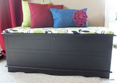Re-covered hope chest painted black
