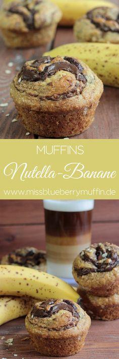 Perfekt fürs Frühstück: Muffins mit Nutalle und Banane! So hübsch und lecker und sind fix zusammen gerührt! <3