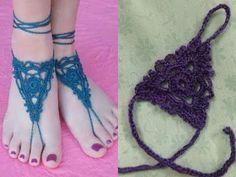 بالكروشيه طريقة عمل اكسسوار قدم (خلخال) , شرح مفصل ..! - YouTube Crochet Barefoot Sandals, Bare Foot Sandals, Crochet Necklace, Flip Flops, Shoes, Women, Fashion, Moda, Zapatos