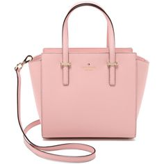 Kate Spade New York Small Hayden Satchel (1,255 MYR) ❤ liked on Polyvore featuring bags, handbags, rose jade, leather purse, genuine leather handbags, pink leather handbag, leather satchel purse and pink leather purse