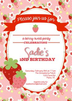 Strawberry Birthday Invitation  Custom  by FoxDigitalDesigns, $10.00