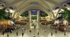 The 700,000-sqm Midfield Terminal Building (MTB) at Abu Dhabi International Airport is planned to open in 2017.  Piers will accommodate up to 65 aircraft, including the Airbus A-380. Check-in is capable of handling around 8,500 passengers per hourCheck-in will provide 165 conventional counters and 48 self-service kiosks. Baggage system is designed to process over 19,000 bags per hour with over 22 kilometers of conveying lines and 10 reclaim carousels