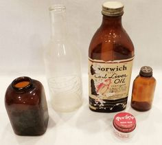 Vintage Glass Medicine Apothecary Bottles Brown MILK GLASS Embossed LABEL BAYER