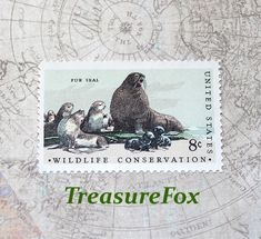 TEN 8c Fur Seal-Wildlife Conservation | Scott #1464.. Pack of 10 Vintage Unused postage stamps. California wildlife | Sea animals | Beaches by TreasureFox on Etsy