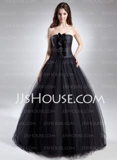 Ball-Gown Strapless Floor-Length Satin Tulle Quinceanera Dress With Ruffle (021015612) - JJsHouse