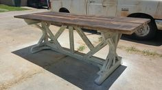 Measuring 8ft by 3ft, this rustic farm table is handmade from solid pine. Every guest will feel blessed to take a seat at this table! Etsy.com/shop/LoneStarArtisanWorks Facebook.com/LSArtisanWorks
