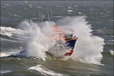 The waves crashing over the Torbay Lifeboat, Brixham.