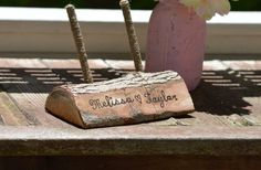 rustic pen and pen holder woodland wedding pen stand by PineNsign