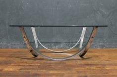 Mid Century Chrome and Glass Top Coffee Table