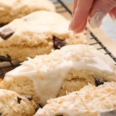 Coconut Chocolate Chunk Scones are made with coconut milk, coconut, toasted coconut, chocolate chunks, and a sweet coconut glaze! This scone recipe should be soft, fluffy, tender, and sweet. They are perfect for breakfast, brunch, or with a cup of tea or coffee!