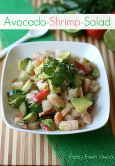 """This recipe isn't as """"fancy"""" as your typical ceviche, but this Avocado Shrimp Salad recipe is packed with healthy goodness, and is a cinch to make. Cilantro Pesto, Shrimp Avocado Salad, Shrimp Salad Recipes, Shrimp Salads, Seafood Recipes, Shrimp Ceviche, Feta Salad, Camarones, Soup And Salad"""