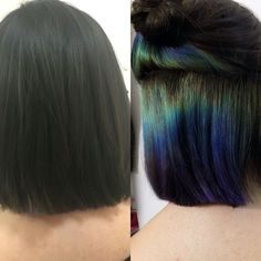 Slick Hair: The Epic Rainbow Hair Technique Oil Slick Hair The Epic Rainbow Hair TechniqueOil Slick Hair The Epic Rainbow Hair Technique Peacock Hair Color, Hair Colors, Peekaboo Hair, Peekaboo Color, Peekaboo Highlights, Hair Highlights, Hair Color Pictures, Natural Hair Styles, Short Hair Styles